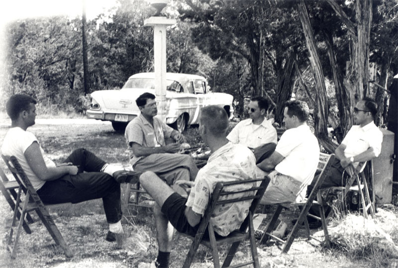 Austin Seminary students at outside gathering, 1950s.