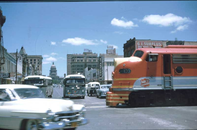 Austin, Texas. View of the Capitol Building looking north up Main Street (South Congress).