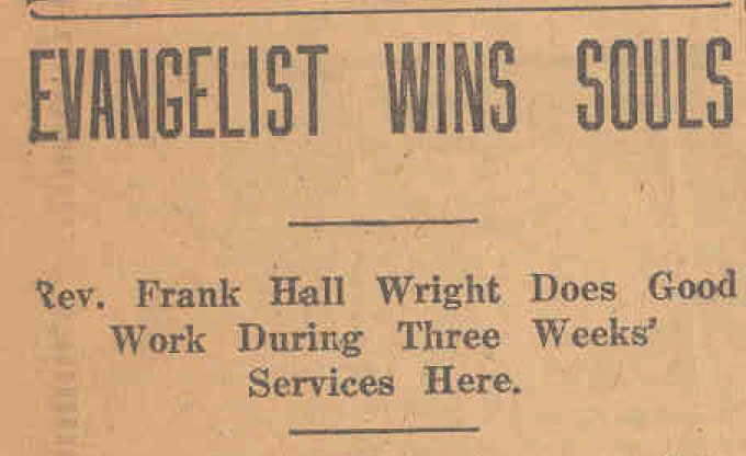 Newspaper clipping about Frank Hall Wright
